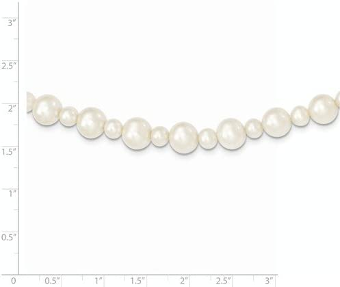 Brilliant Bijou 14k White Gold 5-8mm White FW Cultured Pearl Necklace 18 inches
