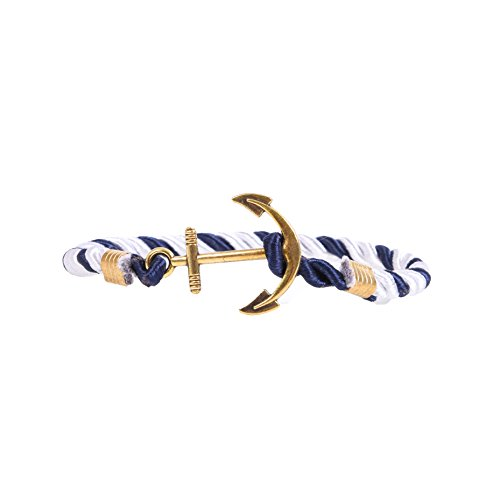 RIVERTREE Mens Gold Anchor Charm Bracelet Braided Weave Nylon Rope Wristband - Navy & White