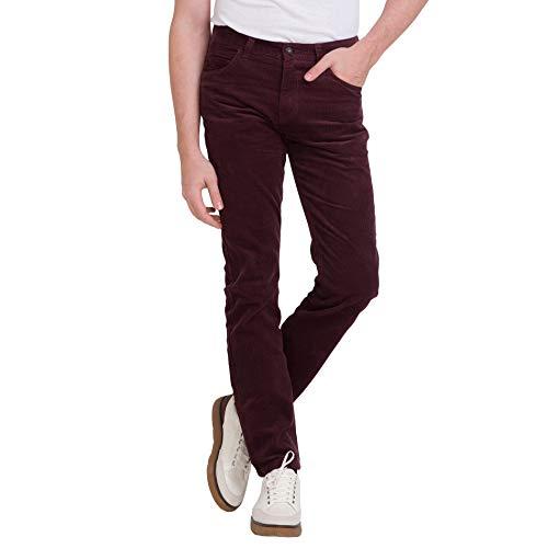 - bossini Men's Pants, Slim Fit Solid Comfy Corduroy Pants, Purple 30,Waist 32