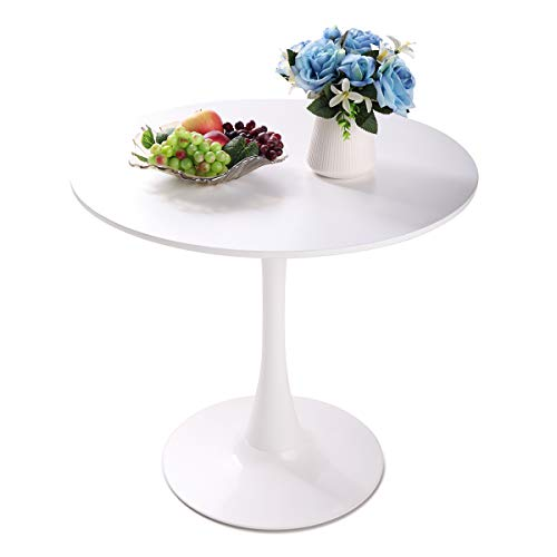 TOBBI 31.5″ White Tulip Table – Mid-Century Dining Table with Round MDF Table Top, End Table Leisure Coffee Table Kitchen Table Small Office Table for 2 or 4 Person
