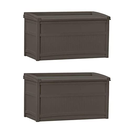 Deck Boxes Suncast 50 Gallon Stay Dry Resin Outdoor Deck Storage Box w/Seat, Java (2 Pack) outdoor deck boxes