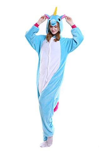 Chorade Unicorn Onesie Costume Unisex Adult Animals Blue Unicorn Pajamas Cosplay kigurumi Cute Sleepwear