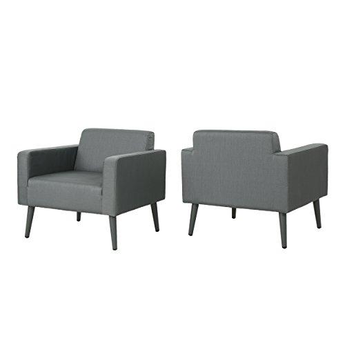 Great Deal Furniture Rene Outdoor Mesh Upholstered Club Chair (Set of 2), Dark Grey