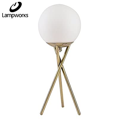 Lampworks Table Lamp Moon Decorative Bedside Lamp Metal Bracket Spherical Acrylic Lampshade Desk Lamp Modern Light for Bedrooms Living Room(Bulb Not Included)