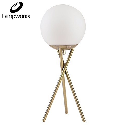 - Lampworks Table Lamp Moon Decorative Bedside Lamp Metal Bracket Spherical Glass Lampshade Desk Lamp Modern Light for Bedrooms Living Room(Bulb Not Included)