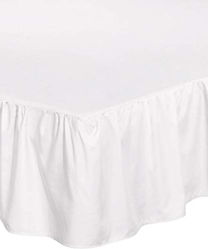 Bed Skirt Ruffle Dust Fit for King Queen Size White Colors E