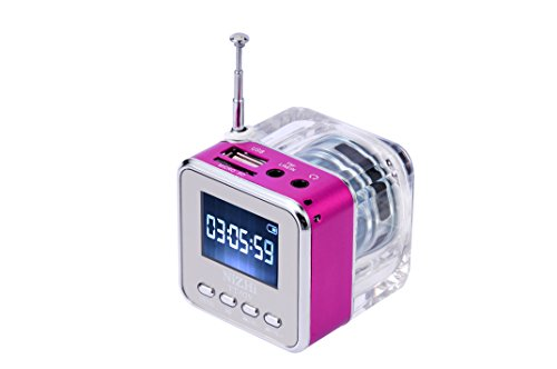 GRANDEY TT029 Portable Mini Music Speaker Support SD/TF Card with Alarm Clock FM Radio and LCD Screen Synchronous Lyrics(Rose red)