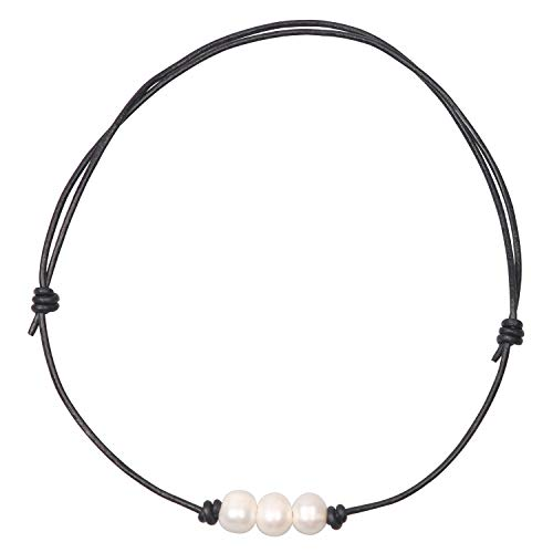 (Charming Collection Women White 3 Cultured Freshwater Pearls Choker Necklace on Genuine Leather Cord Knotted Jewelry (Adjustable Black)