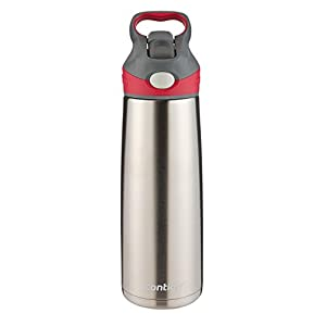 Contigo Auto Spout Straw Sheffield Water Bottle, 20-Ounce, Stainless/Sangria