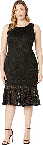Flounce Dress Lace (Marina Women's Plus Size Sleeveless Stretch Glitter Lace Midi Dress with Flounce Black 18 W)