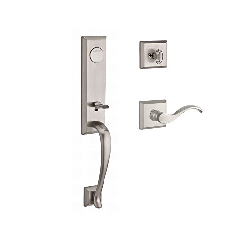 - Baldwin FDDELXCURLTSR150 Reserve Full Dummy Handleset Del Mar x Curve with Traditional Square Rose, Satin Nickel Finish, Left Hand