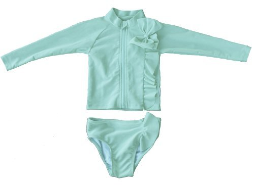 68116f05a3288 Amazon.com: SwimZip Little Girl Mint Chip Rash Guard Swimsuit Set ...