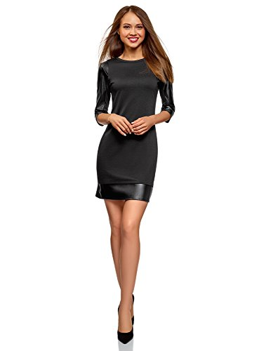 oodji Ultra Women's Dress with Faux Leather Details, Black, 10