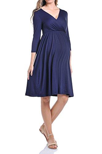 Dress Sleeve Nursing 3/4 (Beachcoco Maternity Women's V-Neck 3/4 Sleeve Nursing Knee Length Dress (L, Navy))