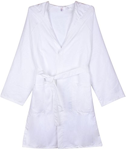 SUNLAND Chamois Microfiber Hooded Bathrobe Unisex Beach Spa Robe L White by SUNLAND