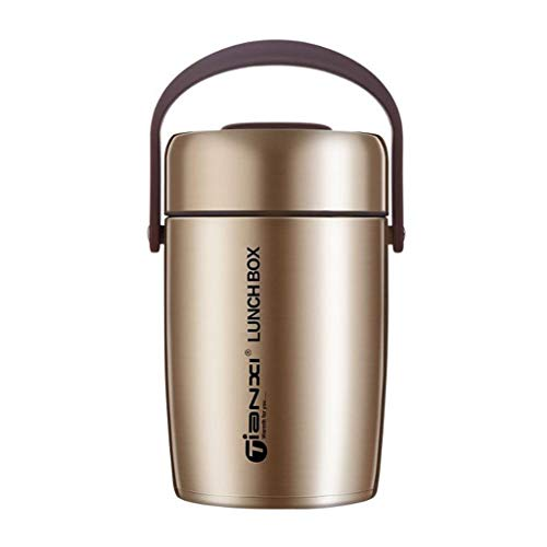 Food Thermos Flask, Insulated Lunch Containers, 3-Tier Thermos Container Food Soup Jar, Stainless Steel Vacuum Insulated Sealed Lunch Bento Box for Hot Cold Food, 2L (Color : Champagne gold)