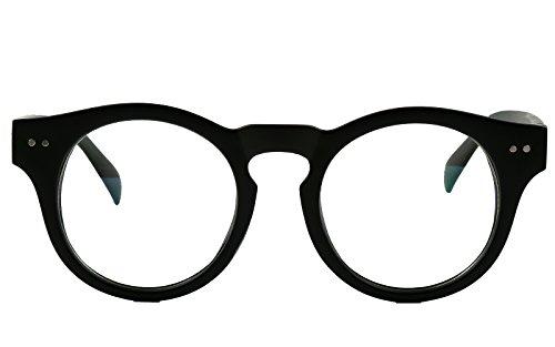 Beison Horn Rimmed Round Eyeglasses Frame Clear Lens 46mm (Matte black 46)