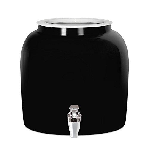 Brio Solid Porcelain Ceramic Water Dispenser Crock with Faucet - LEAD FREE (Black) (Gallon 5 Crock Water)