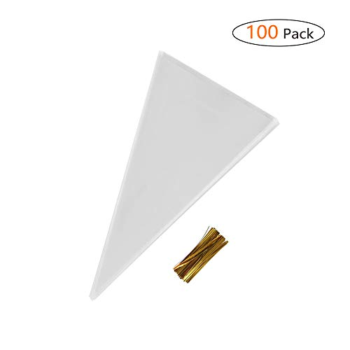 - IntService 100 Pcs 14.6 7 Inch Clear Plastic OPP Bags Cellophane Triangle Treat Bags Candy Cello Bags with Twist Ties for Candies, Cookies, Popcorn and More