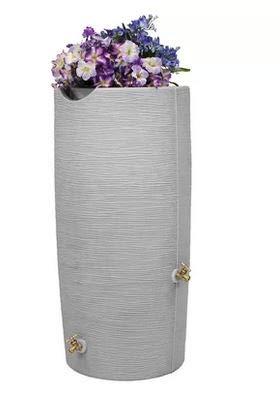 Bright Outdoors- Rain Barrel-Rain Water Catcher- Gray Plastic Artisan Clay Vase Design 50 Gallon Capacity with Planter Top Removable Debris Screen - Reinventing The Way You Save Rain ()