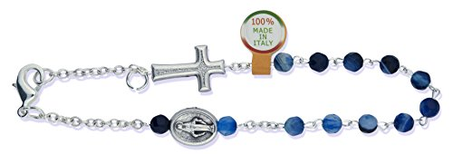Deluxe One Decade Rosary Bracelet with Brazilian Agate Beads and Clasp (Blue)