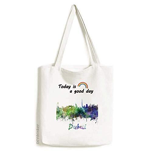 Dubai The United Arab Emirates City Tote Canvas Bag Craft Washable Fashion Shopping Handbag