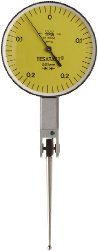 (Brown & Sharpe TESA 18.10008 Tesatast Dial Test Indicator, Top Mounted, Extra Long Contact Point, M1.4x0.3 Thread, 2mm Stem Dia., Yellow Dial, 0-0.25-0 Reading, 38mm Dial Dia., 0-0.5mm Range, 0.01mm Graduation, +/-0.01mm Accuracy )
