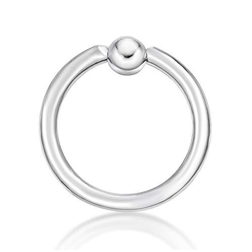 14K White Gold Captive Bead Hoop Lip Eyebrow Belly Nipple Ring 14 Gauge 3/8