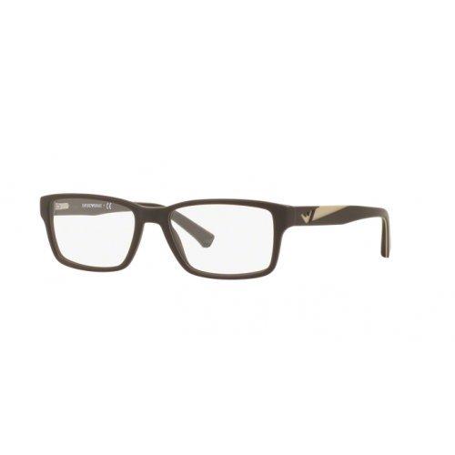 Emporio Armani EA3087 Eyeglass Frames 5509 - Matte Brown - Armani Emporio Eyeglasses Frame