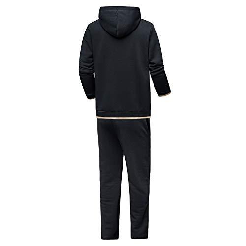 Pullover Da Sport Stampa Felpa Tascabile Set Suit Polpqed Con Inverno Tuta Cappuccio Cerniera Top Di nero Uomo Autunno pantaloni Sportiva Sportivo Pantaloni apqPxFH