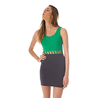 Hipster Ardm14136ggn-m Body-con Dress For Women - M, Green And Navy Blue