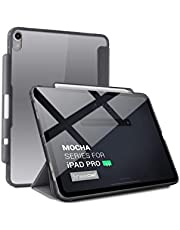 TineeOwl Mocha 2018 iPad Pro 11 inch Ultra-Slim Clear Case with Pencil Holder + Tri-fold Stand Cover, Supports Apple Pencil Wireless Charging [Absorbs Shock] Flexible TPU, (Frosted Black/Gray)