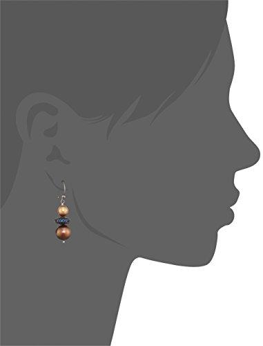 Katerina Psoma femme  Argent 925/1000  Argent|#Silver Rond  Perle d'eau douce chinoise Marron Perle Zirkonia