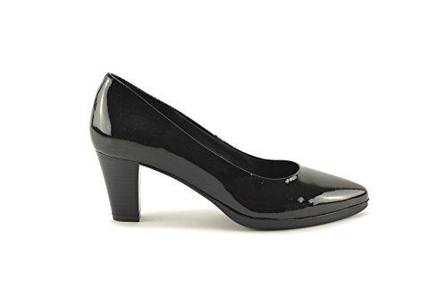ConBuenPie by Desiree - New Collection - Zapato con tacón en piel Charol en color Azul, Burdeos y Negro Negro