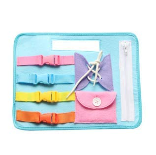 Contrasting Tie - KAKIBLIN Portable Baby Soft Cloth Activity Board Non-Toxic Early Learning Basic Life Skill Toy- Zip, Button, Buckle, Snap and Tie, Blue