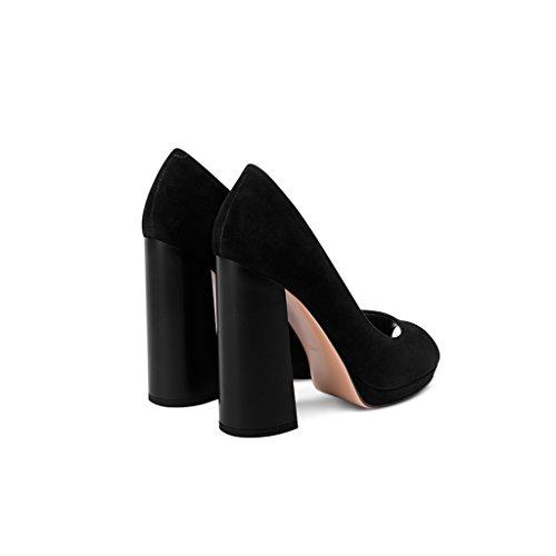 Sandalias Zapato Femenina Nuevo Solo Alto Con Mujer Plataforma Verano Y Altos Oveja Zapatos Impermeable Primavera Boca Tacón Tacones Negro De Yubin Pescado Un pwT0AqBpd
