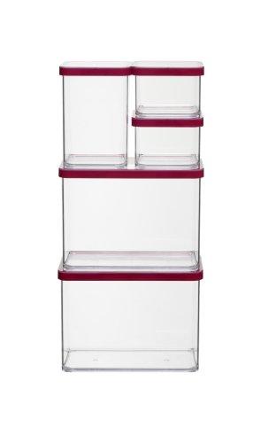 Transparent//Rot Bpa-Frei Rotho Premium Loft 5Er Set Vorratsdosen Kunststoff