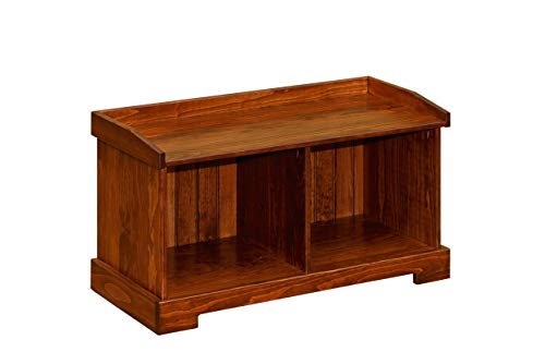 Peaceful Classics Wooden Entryway Storage Bench Amish Furniture | Wood Shoe Cubby Benches with Shelves for Entry, Mudroom, or Hallway