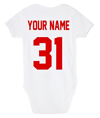 Baseball Custom Personalized One-piece Baby Bodysuit With Your Name and Number (12-18 Months)