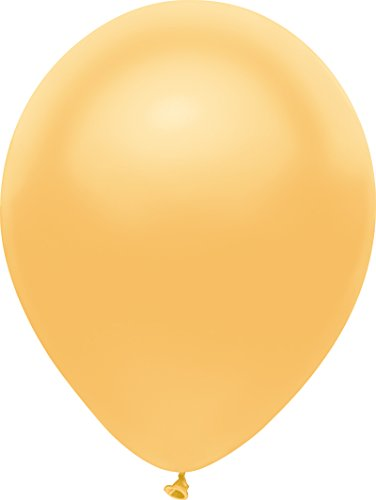 PartyMate 72002 Made in the USA Metallic 5-Inch Latex Balloons, 50-Count, Radient Gold