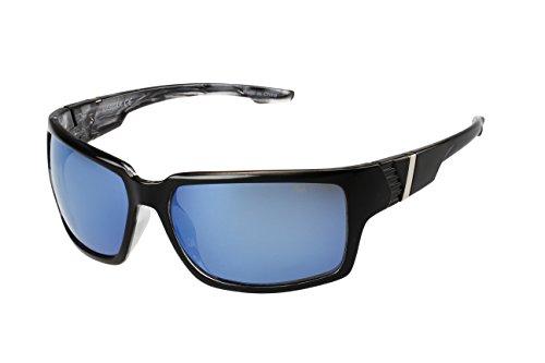 NASCAR Hauler 106P Polarized Wrap Sunglasses, Black/Blue Crystal, 63 mm