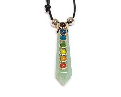 - Mia Jewel Shop Rainbow Chakra Beaded Hexagonal Healing Gemstone Crystal Point Pendant Adjustable Necklace (Green Aventurine)