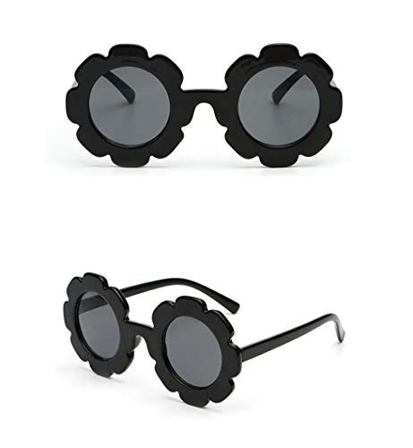 Toddler Kids Girl Flower Round Anti-UV Sunglasses, Colorful Eyewear Suit for Party Photography Outdoor Beach (Black)]()