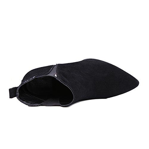 MINIVOG Womens Back Pull Tab Pull-on Suede Snakeskin Leather High Heel Chelsea Boots QhA8oJ