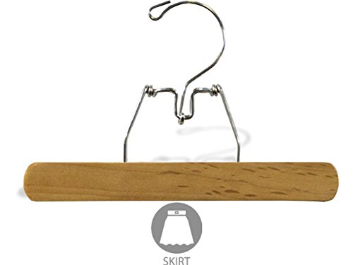 - The Great American Hanger Company Wooden Clamp Pant Hanger in Natural Finish with Felt Inserts, Box of 25 Classic Bottoms Hangers with Metal Snap Lock