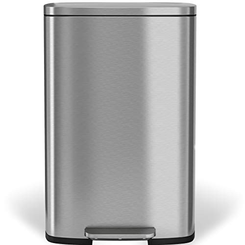 iTouchless SoftStep 2.0 Step Trash Can, 13.2 Gallon Stainless Steel with Deodorizer Filter System & Inner Bucket, 50 Liter Foot Pedal Garbage Bin for Office and Kitchen, Soft and Quiet ()
