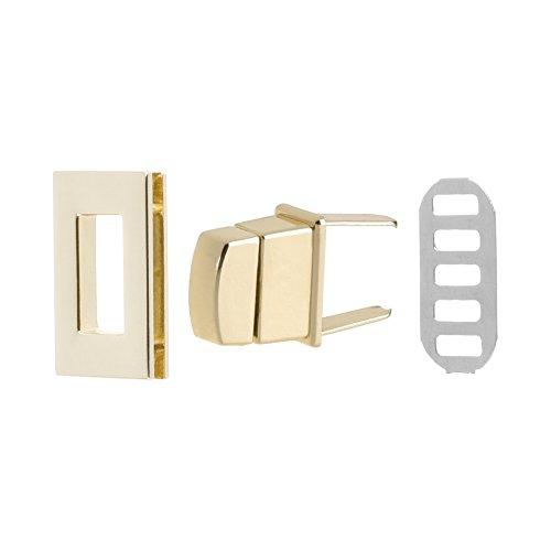 Bluecell 2 Sets Rectangle Turn Lock Clasp Purse Closure Twist Lock for Leathercraft Purse ()