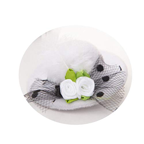 New Cute Hat Shaped Flower Adornment Girls Feathered Hat Hair Clips Children's Hair Accessories Fashio for $<!--$14.39-->