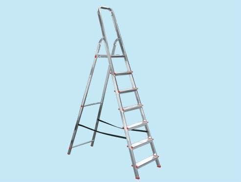 Escalera doméstica aluminio ligero 7 peldaños 100 kg.: Amazon.es: Jardín