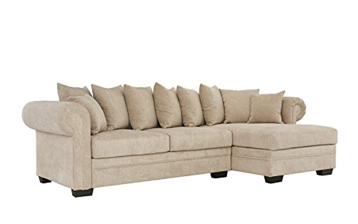 Sectional Sofa Large Fabric L-Shape Couch with Extra Wide ...